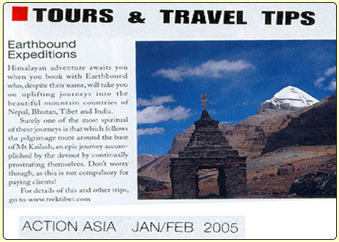 Action Asia Magazine Published in Hongkong Jan / Feb 2005 article about  Earthbound Expeditions & Holy Mt. Kailash