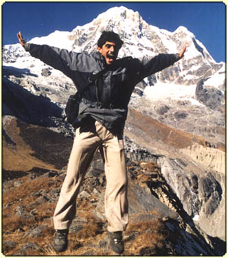 Annapurna Base Camp Trek - Rajan jumping for fun 2001