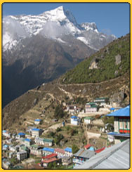 Himalayan view from Namche, en route to Gokyo everest trek