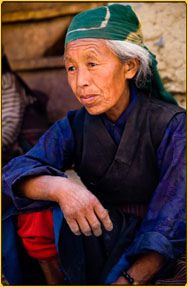 Face of tIbetan woman from Mustang nepal