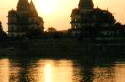 Sunset in India , temples of india