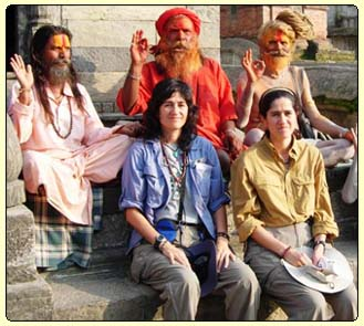 Rocio and her sister with Sadhus in Pashupatinath, Nepal, join our India - Nepal - Tibet tour