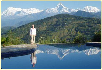 View of Annapurna range from pokhara, Nepal trekking and tours.